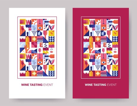 Set of abstract geometric posters for Wine Tasting event. Seamless  backgrounds for brochures, poster design. Vector illustration