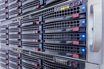 Server hardware is a close-up. Computer data storage systems. The hosting platform for multiple websites. Powerful computing equipment works in a modern data center