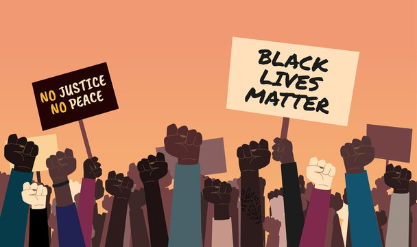 "Stock vector illustration of anti-racist protesters with ""Black Lives Matter"" and ""No justice, No peace"" signs. Protest against racial injustice and the death of George Floyd"