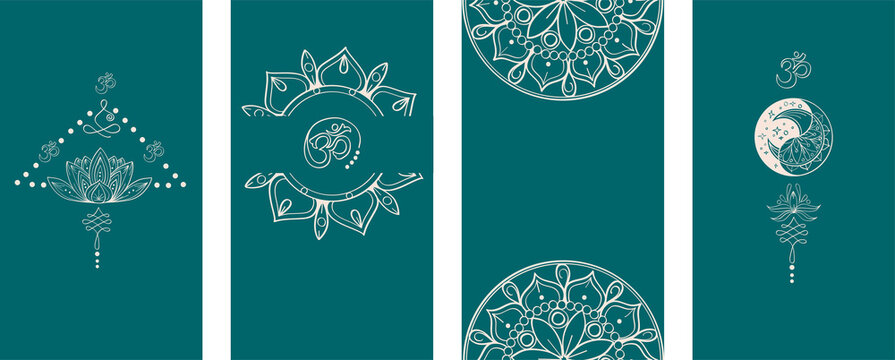 Abstract hand drawn vector stories. Collection of minimal linear template in yoga style for womanly profile. Set of vector story template for social media, web, mobile app in green color