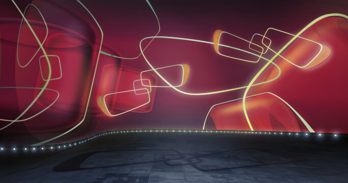 Red TV show backdrop. Ideal for virtual tracking system sets, with green screen. (3D rendering)