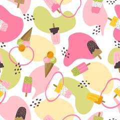 Colorful fun summer seamless pattern with colorful popsicale and ice cream and abstract shapes and blobs. Beach and summertime vacation holidays repeating background for fabric, textile, branding