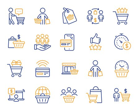Buyer customer line icons. Contactless payment card, shopping cart and group of people. Store, buyer loyalty card, client ranking set icons. Shopping timer, phone payment, currency. Vector