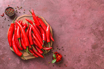 Canvas Prints Hot chili peppers Composition with hot chili pepper on color background