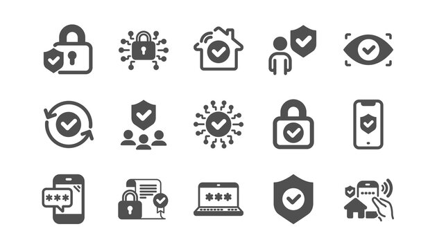 Security icons set. Password, Cyber lock, unlock. Guard, shield, home security system icons. Eye access, electronic check, firewall. Internet protection, laptop password. Quality set. Vector