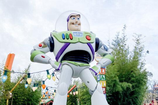 buzz Lightyear in Disneyland Paris park in Marne-la-Vallee