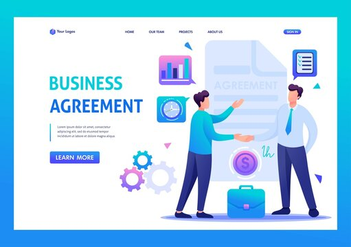 Businessmen agreement partners, growth revenue schedules. Flat 2D character. Landing page concepts and web design