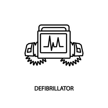 Defibrillator machine flat line icon. Medical equipment for clinics and hospitals