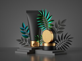 3d render. Black cosmetic bottles and golden lids, tropical leaves. Cream tube and jar containers. Beauty products for men advertisement. Commercial banner template. Showcase mockup