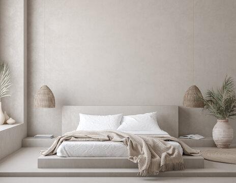 Nomadic style bedroom interior background, 3d render