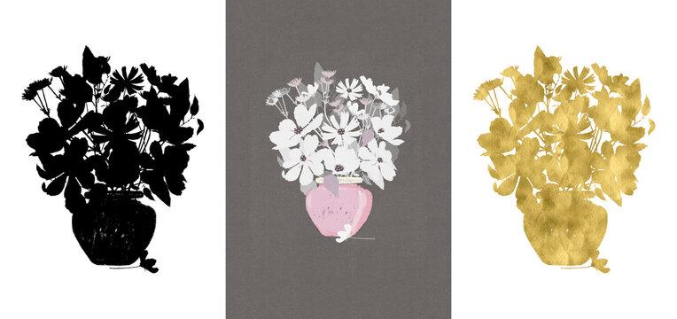 Floral vase illustration set. Design collection black, gold, finished flowers - for greetings, cards, stationery, other.