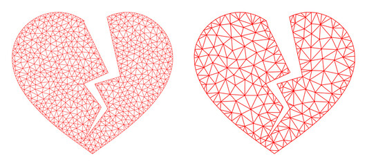 Mesh vector broken heart icon. Mesh wireframe broken heart image in lowpoly style with structured triangles, nodes and linear items. Mesh concept of triangulated broken heart, on a white background.