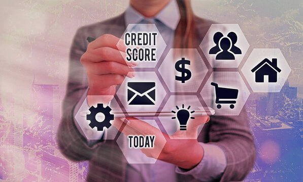 Conceptual hand writing showing Credit Score. Concept meaning numerical expression that indicates an individual s is creditworthiness