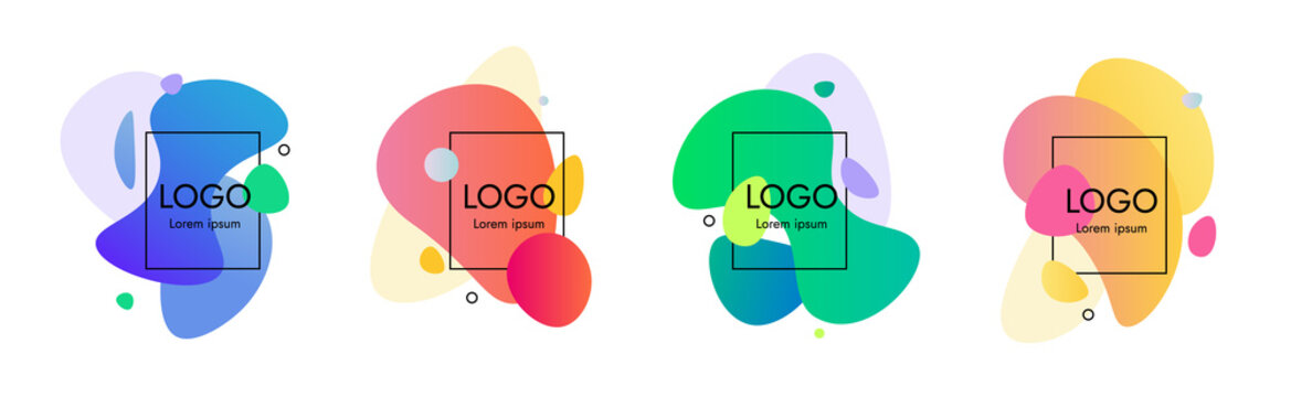 Simple Set of abstract modern lava lamp graphic elements. Dynamical colored forms. Gradient abstract banners with flowing liquid rounded shapes. Template for logo, discount, banner.