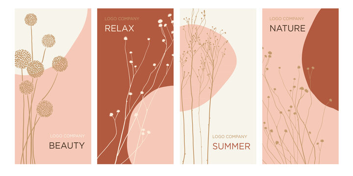 Summer design concept  Templates of banners, packaging, cards for the beauty salon, spa, restaurant, hotel. Vector illustration of wildflowers