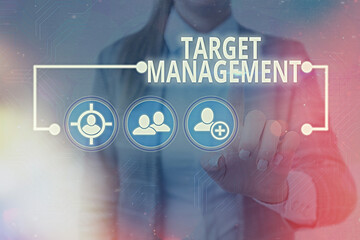 Text sign showing Target Management. Business photo showcasing nurturing the engagement of customers in the business