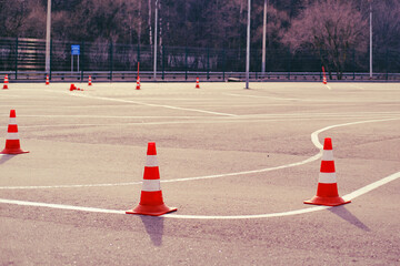 Playground at driving school and driving training with the road for students Fototapete