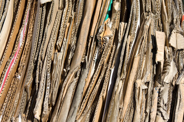 Cardboard compacted ready for recycling
