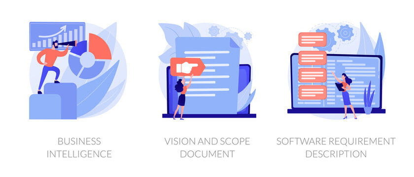 Company activity stats automation. Paperwork optimization. Business intelligence, vision and scope document, software requirement description metaphors. Vector isolated concept metaphor illustrations