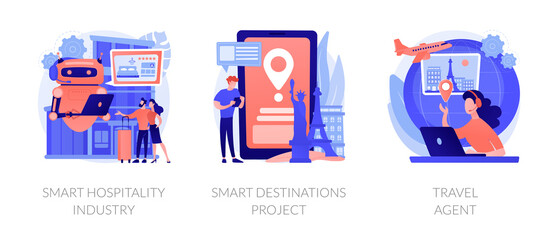 Abroad trip planning metaphors. Smart hospitality industry, destinations project, travel agent service. Booking hotel and tickets online. Vector isolated concept metaphor illustrations.
