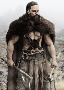 Viking Norse raider from Scandinavia holding duel bearded axes stands ready for battle to defend his homeland. 3d rendering