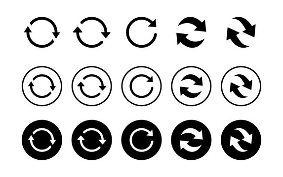 Refresh icon set isolated on white background. Reload icon vector. Update icon. convert icon