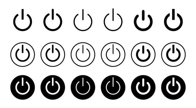 Power icon set isolated on white background. Power Switch Icon. Start power icon