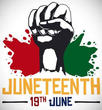 Fist and Splashed African Colors for Juneteenth Celebration, Vector Illustration