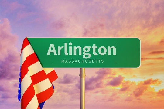 Arlington – Massachusetts. Road or Town Sign. Flag of the united states. Blue Sky. Red arrow shows the direction in the city. 3d rendering