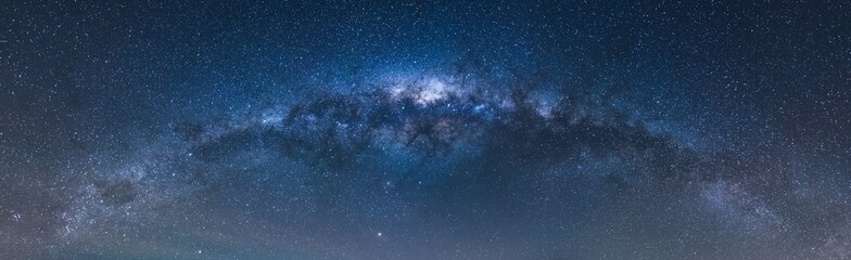 Acrylic Prints Universe Low angle panoramic shot of the beautiful starry sky at night - great for backgrounds