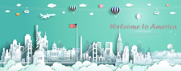 Printed roller blinds Green coral Travel landmarks United States of America famous monument architecture skyline.