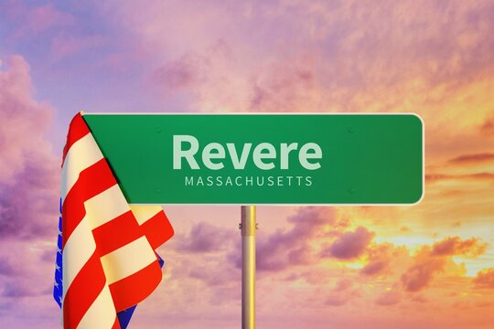 Revere – Massachusetts. Road or Town Sign. Flag of the united states. Blue Sky. Red arrow shows the direction in the city. 3d rendering