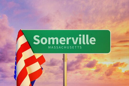 Somerville – Massachusetts. Road or Town Sign. Flag of the united states. Blue Sky. Red arrow shows the direction in the city. 3d rendering