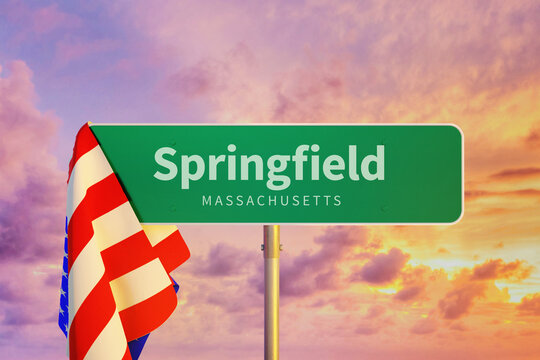 Springfield – Massachusetts. Road or Town Sign. Flag of the united states. Blue Sky. Red arrow shows the direction in the city. 3d rendering