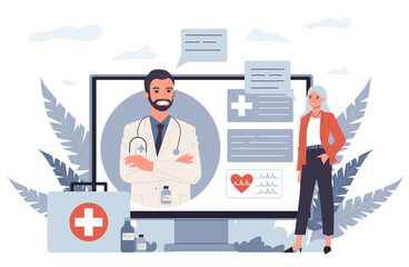 Fototapeta Patient consulting doctor online. Woman talking to physician through video call flat illustration. Healthcare, internet, communication concept for banner, website design or landing web page