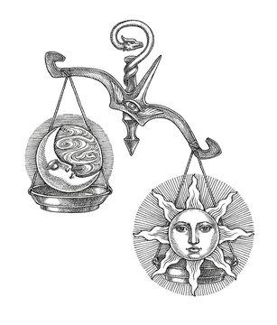 Hand drawn illustration, Libra, zodiak sign, engraving style.