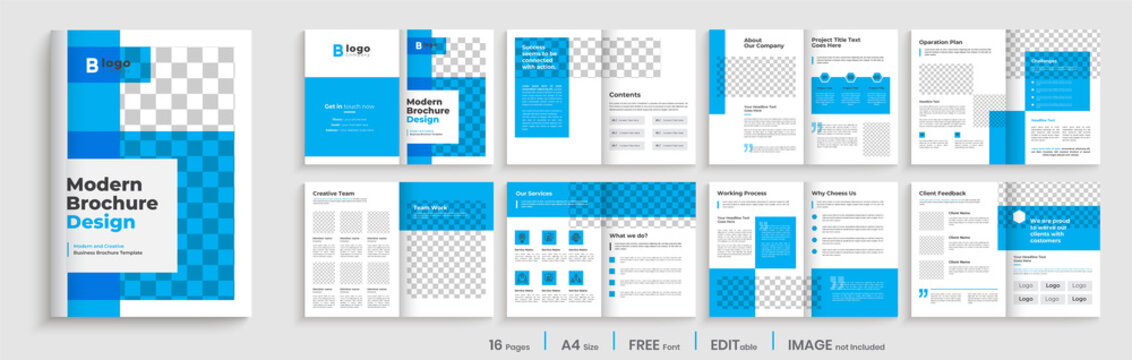 Blue elegant brochure template layout design, minimalist business profile, 16 pages brochure design, multipages template with shape.