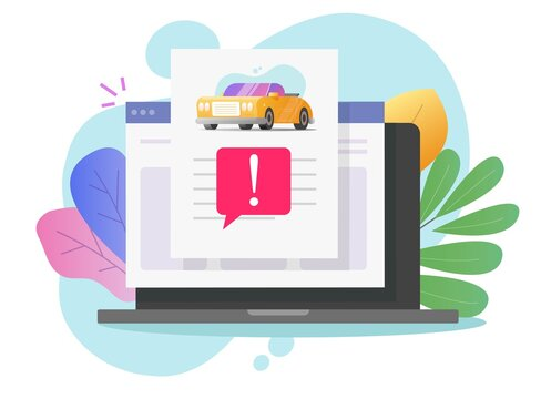 Car fake risk history online description report with warning vehicle access on computer laptop or internet website automobile fraud info document page with important caution notice message colorful