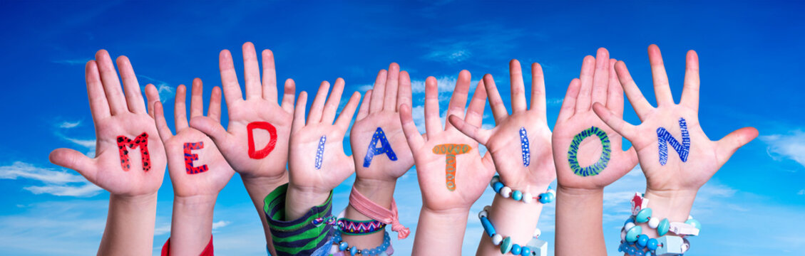 Children Hands Building Colorful English Word Mediation. Blue Sky As Background