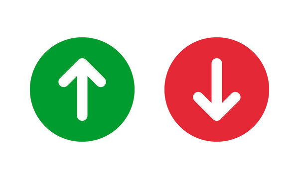 green up and red down arrows, round solid vector signs