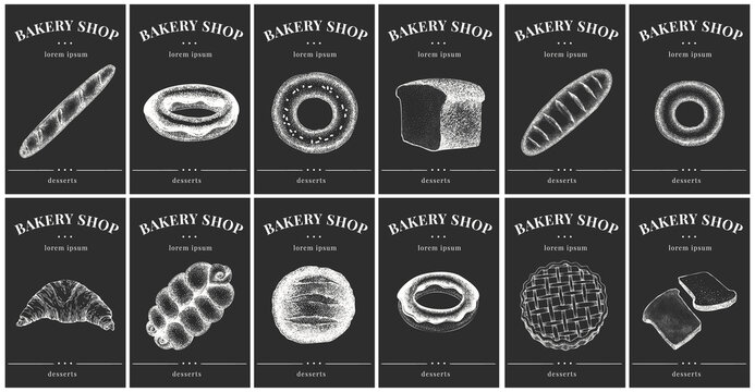 Labels with bakery and desserts. Vintage set templates price tags for shops and bakeries. Vector illustrations on chalk board.