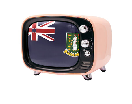 The retro old TV is isolated against a white background with the flag of British Virgin Islands