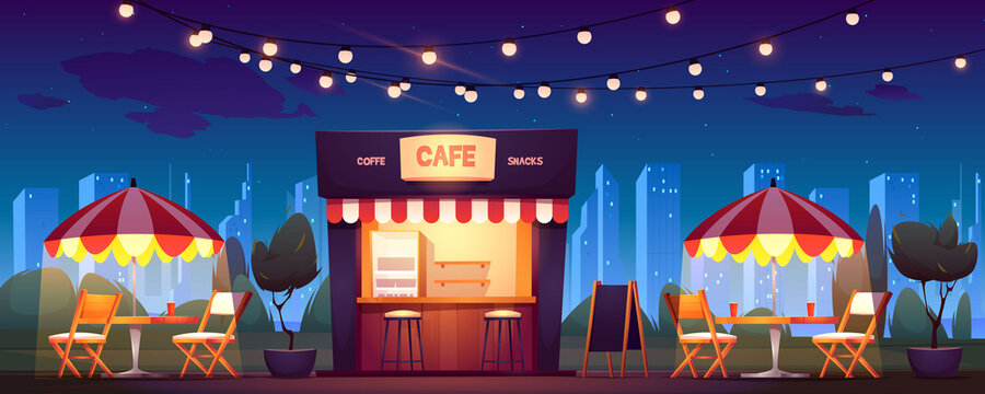 Street cafe with coffee and snacks at night. Vector cartoon cityscape with outdoor cafeteria with umbrellas, tables and chairs on sidewalk. Fast food shop in summer town park