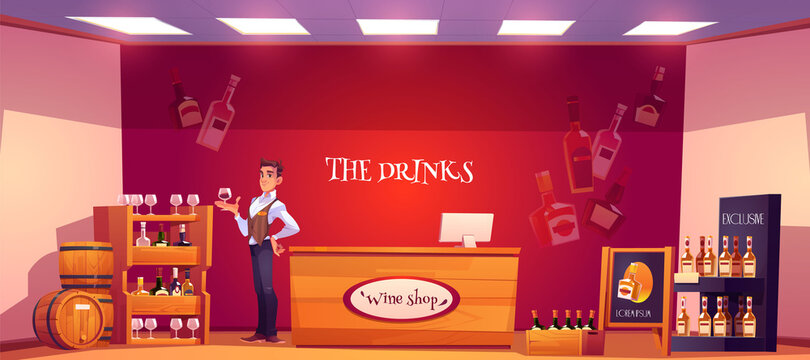 Sommelier in wine shop holding wineglass in hand. Seller examine beverage in store interior with alcohol drink bottles stand on wooden shelves, counter desk and billboard. Cartoon vector illustration