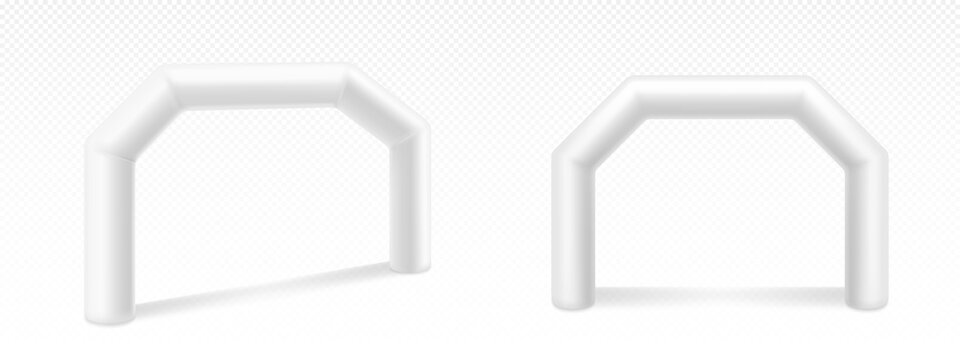 Inflatable arches for advertising, races, marathon and sports events. Blank archways or gate, finish or start on sports competition isolated on white background, Realistic 3d vector illustration