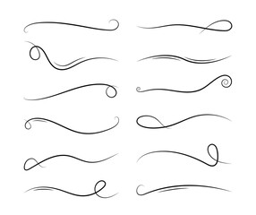 Line swirl. Calligraphy element. Vintage ornate ornament. Decorative divider and scroll. Doodle swash. Curly decoration design. Swirly graphic curl. Hand drawn calligraphic set of lines. Vector