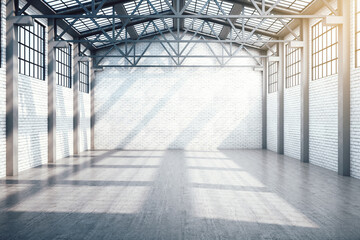 Fototapeta New industrial warehouse interior with window obraz