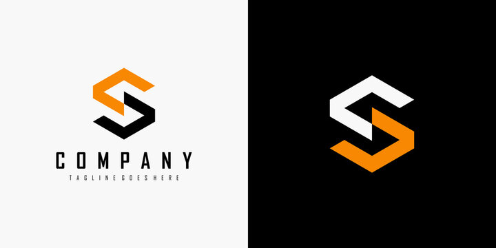 Initial Letter S Logo. Black Orange Geometric Hexagonal Line isolated on Double Background. Usable for Business, Building and Technology Logos. Flat Vector Logo Design Template Element.