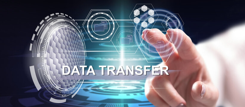 Woman touching a data transfer concept