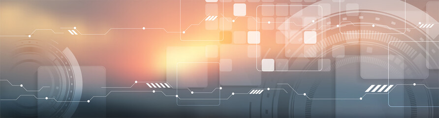 Fotobehang - Sunny orange futuristic technology abstract background with HUD gears, squares and circuit board lines. Vector design